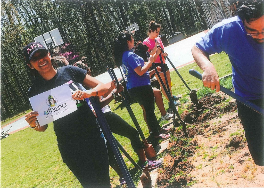 Athena Study Abroad participants giving back