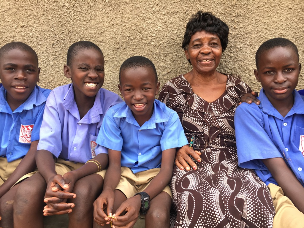 June 2018 Teacher Nansubuga with students