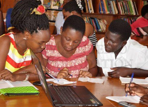 women learning digital skills in Uganda
